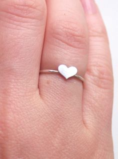 Tiny Sterling Silver Stacking Heart Ring by proteales on Etsy