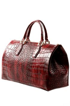 GABRIELLE'S AMAZING FANTASY CLOSET | Vintage Dark Ombre Red Crocodile Leather Bag |