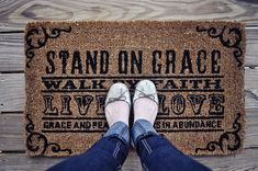 "DaySpring Welcome mat ""Stand On Grace, Walk By Faith, Live In Love, Grace and peace be yours in abundance. 1 Peter 1:2"""