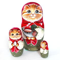 Exclusive collectible Russian nesting doll 'Lapushka'. Tempera, acrylic paints #yolkstar