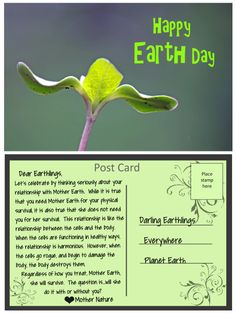 Post Card from Mother Nature: Happy Earth Day Mother Earth, Mother Nature, True Relationship, Happy Earth, Lets Celebrate, Earth Day, Thank You Cards, Let It Be, Post Card