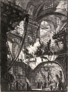 Visualizing opium dreams through the etchings of Piranesi. Pictured: The Smoking Fire.