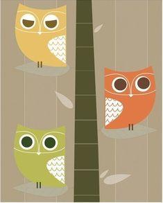 retro owl prints