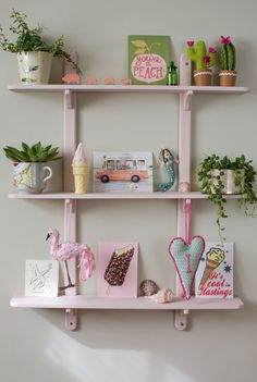 Shelfie. Shelf styling for a little girls room. This shelf was a junk shop find and was brought to life with a sample pot of Farrow and Ball paint and an array of curiosities, prints and plants. Check out the blog for sources and to see the enchanting mermaid painting that dictated the colour palate for our little girl's room.