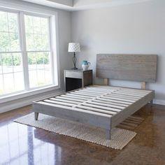 Industrial Barnwood Platform Bed Frame and Headboard   Overstock.com Shopping - The Best Deals on Beds
