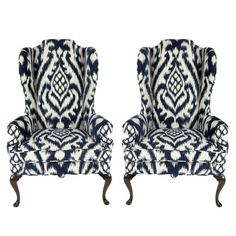 Pair of High Back Wing Chairs upholstered in Woven Ikat | From a unique collection of antique and modern wingback chairs at https://www.1stdibs.com/furniture/seating/wingback-chairs/
