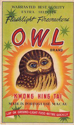 Owl Firecracker Brick Label