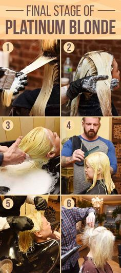 Finally, a second round of bleach is applied all over the head for the second process. Once that is washed out, the hair is cut (which is optional but suggested), a toner is applied to the hair, and it's blown dry.