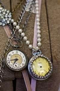 Add old broken pocket watches to pearls, chains, or ribbons and wear as necklaces or use as ties for curtains, groups of old books, ornaments, etc.