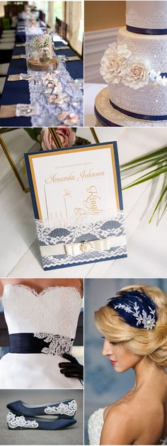 Navy Blue, Gold and Elegant Lace Wedding Decoration Ideas