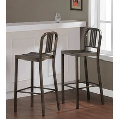 Vintage Metal Bar Stools (set Of 2)