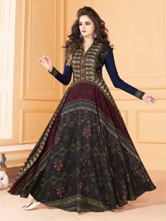 9ae29dad97 Amusing Readymade Multicolour Tussar Silk Embroidered Gown Suit Floor  Length Kurti, Designer Gowns, Indian