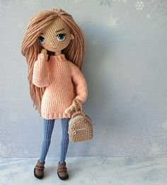 Love this crochet doll's outfit and hairstyle