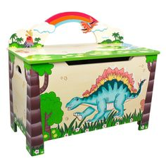 Put an end to messy rooms with the Fantasy Fields' Dinosaur Toy Chest. Hand painted with dinosaurs, trees, and a shiny rainbow, this is surely an attractive piece. Toy chest features a secure lid with