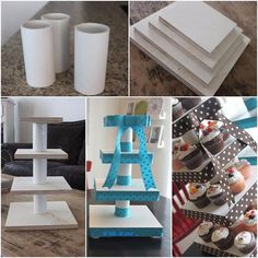 DIY Custom cupcake stand - see photo for credit and page of designer Dyi Cupcake Stand, Cupcake Towers, Ideas Para Fiestas, Candy Table, Candy Buffet, Dessert Table, Diy Cake, Baby Party, Diy And Crafts