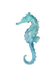 Turquoise Seahorse Archival Art Print by MagaMerlina on Etsy, $15.00