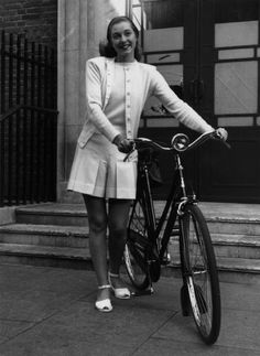 white cashmere twin-set   raleigh bicycle #vintage #1940s