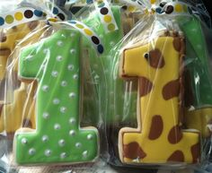 Giraffe cookie favors for a 1st Birthday!