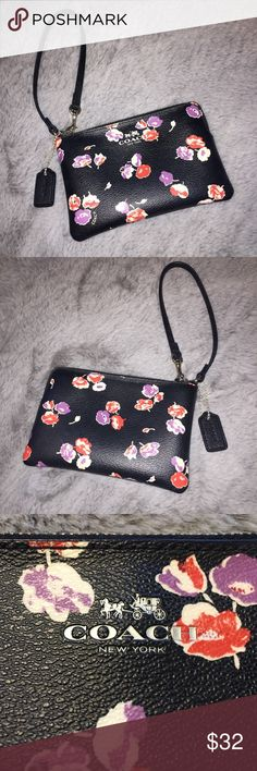 NWOT Coach Floral Wristlet This listing is for a new without tags Coach wristlet. This is black with a purple, red, and white floral pattern. This is leather and has a matching strap that's hooked onto the zipper. This has the iconic Coach tag on a ball link chain. Inside, there are two small fabric pockets/card holder slots. The product number is on a tag inside (as pictured). This is an authentic Coach wristlet. This was originally $75. This has only been used once to hold my iPhone 6, so…