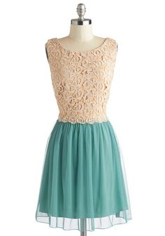 interesting lace lovely colors, love embelishing at the waist Arboretum Reception Dress, #ModCloth