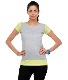 Yepme Gray & Yellow Solid T Shirt  available at snapdeal for Rs.279