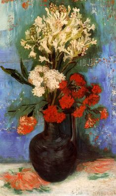 Vase With Carnations And Other Flowers Vincent Van Gogh Reproduction | 1st Art Gallery