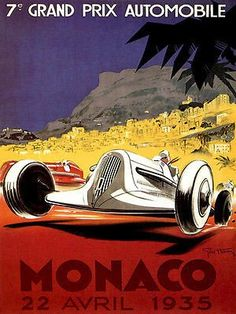 1935 Monaco Grand Prix Race - Promotional Advertising Poster
