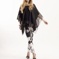 """Shahrazad"" Flowy Poncho Top Gorgeous black flowy poncho top. Goes amazing with all pant bottoms. Brand new without tags. True to size. Model is wearing a size S. Bare Anthology Tops"