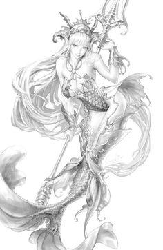 Mermaid pencil sketch.