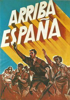 """En la zona nacional proliferó este cartel en el que personas de todos los sectores sociales desfilaban brazo en alto bajo el nuevo grito """"Arriba España"""" impuesto por los falangistas"""