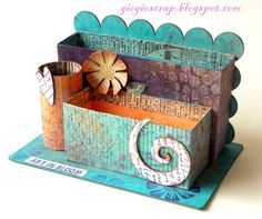 Scrap in Progress: Altered  butter box, Toilet paper roll, and another square box. And you can create this!
