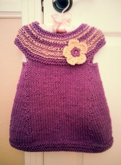 Hand knitted sweater dress tunic for baby toddler girl by Lunushka, $19.95