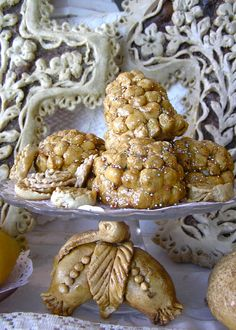 ONE OF MY BEST MEMORIES AS A CHILD...  Food on a St. Joseph Alter.  Pinalata Italian haystack cookies and Cuccidata or Cuchidahti Sicilian Fig Cookies.