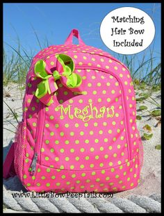 Personalized Kids Backpacks in Pink and Green Polka by PoshyKids ...