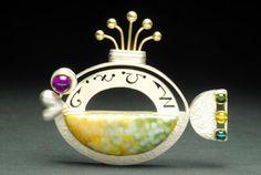 """ Paradise fish "" Ocean jasper, Tourmaline, Amethyst, S. Ankle Jewelry, Cute Jewelry, Metal Jewelry, Jewelry Art, Jewelry Design, Unique Jewelry, Contemporary Jewellery, Jewelry Organization, Fish Ocean"