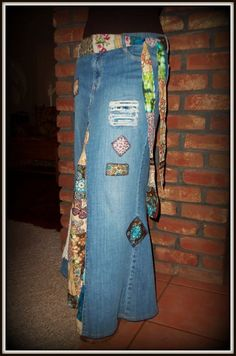 Patchwork de Hippie clásico DELAROSA falda Jean larga hecha a