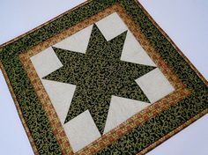 Elegant Christmas Star Quilted Table Topper Holiday Quilted