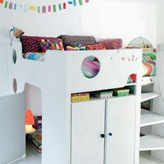 Loft bed with wardrobe/cabinet and reading nook/playhouse