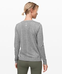 Whether you're running or training, this anti-stink long sleeve gives you the lightweight, breathable coverage you need. Long Sleeve Sweater, Long Sleeve Tops, T Bag, Fit Women, Lululemon Athletica, Slate, Pullover, Sleeves, Sweaters