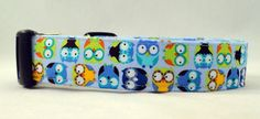 Awesome Hoot Owls on Blue Dog Collar by Maltipaws on Etsy, $12.75
