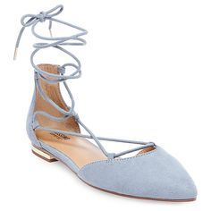 Women's Gretel d'Orsay Ghillie Pointed Toe Lace Up Ballet Flats - Blue 8.5