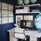 Home Office with Behr Navy Blue walls
