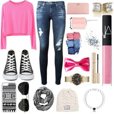 PINK!!! by taylorswiftismyshero on Polyvore featuring polyvore, fashion, style, AG Adriano Goldschmied, Converse, Prada, Marc by Marc Jacobs, Everest, Ray-Ban, Vans, CellPowerCases, Old Navy, Dolce&Gabbana, NARS Cosmetics, Topshop and Essie