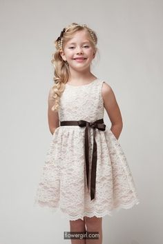 (older girl dress) Ivory Lace Flower Girl Dress with Sash 13KCJ-1227 (5 Colors) (2 to 10)