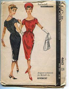 McCall's 4663, Givenchy, Mademoiselle Editor's Choice, ca 1958; Sz 12/Bust 32