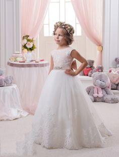 Sleeveless O Neck Floor Length White Tulle A Line Flower Girl Dress B3pe0001