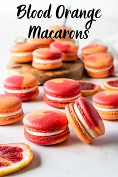 Blood Orange Macarons filled with Blood Orange Curd and Cream Cheese Frosting. The most perfectly tangy citrusy macarons! Best Dessert Recipes, Fun Desserts, Sweet Recipes, Cookie Recipes, Delicious Desserts, Yummy Treats, Macaron Filling, Macaron Flavors, Macaron Pistache