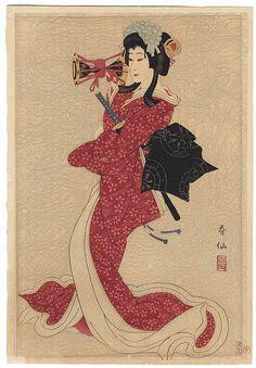 """""""Bando Shucho III as Shizuka""""by Natori Shunsen"""