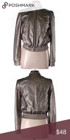 Spotted while shopping on Poshmark: TOPSHOP Metallic Vegan LEATHER Jacket Medium! #poshmark #fashion #shopping #style #Topshop #Jackets & Blazers