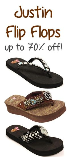 Justin Flip Flops and Hats ~ up to 70% off!! #sandals